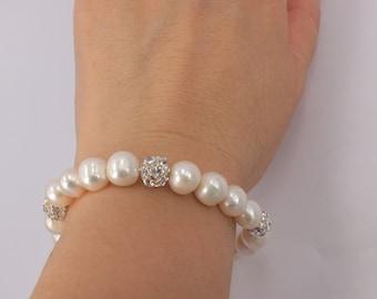 Brianna - Freshwater Pearl and Rhinestone Bridal Bracelet Bridesmaid Bracelet