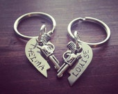 Silver Broken Hearts Stamped Thelma and Louise Key Chains (set)