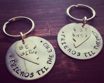 "Hand Stamped Aluminum ""Best Friends"" or ""Best Bitches"" 1.5 Inch Pendants on Keychains"