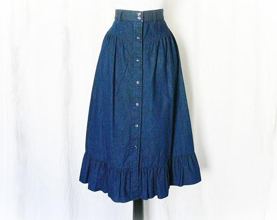 vintage 70s denim prairie skirt s ruffled snap front knee