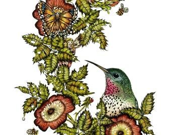 Fairy , Bird Art , Fantasy Print , Childrens Room Art , Watercolor Print