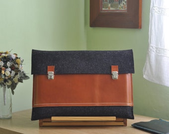 11 inch MacBook case / Macbook Pro 11 Air Case / 11 Macbook Air Bag / Macbook Pro Air - Anthracite felt & brown leather