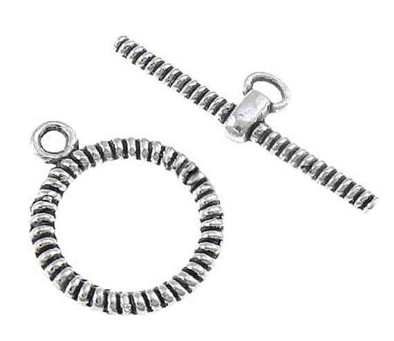 Toggle Clasps : 10 Antique Silver Textured Round Toggle Clasps, Single Strand ... Lead, Nickel & Cadmium Free Jewelry Findings 94452.J3A