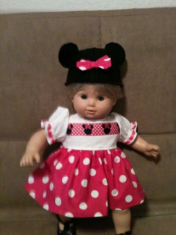 15 Inch Doll Modeled By Bitty Baby Minnie Mouse Dress And