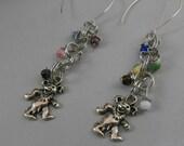 Colorful Silver Dangle Grateful Dead Bear Earrings