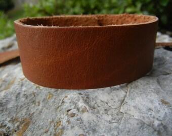 "1"" Wide Leather Cuff - Wristband - 1 Inch Wide Genuine SADDLE BROWN Leather Cuff Bracelet -  Cuff Blank - DIY Jewelry Supply"