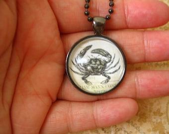 Crab Necklace, Crab Round Glass Necklace, Ocean Animal Necklace
