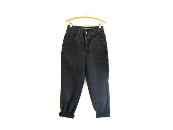 Boyfriend Jeans - Loose. Slouch. Tapered. Girbaud. Mid-rise. Faded. Black. Denim VTG - Jeans