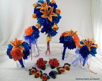 Royal Blue, Malibu Blue and Orange Bridal Bouquets Roses and Lilies Silk Wedding Package 13 piece Flower Package Tropical Beach Wedding