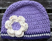 Purple Baby Crochet Hat with Flower