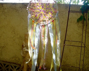 Pastel dreamcatcher gypsy boho free spirit vintage doily embroidery hoop art upcycled beaded handmade wall decor extral large 18 inches