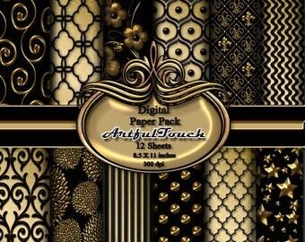 Digital Black and Gold Damask Digital Paper: Black and Gold Damask Paper, Gold and Black Printable Paper, Black and Gold Damask Background