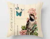 Throw Pillow Cover - Bird and Butterflies on Vintage Postcard Ephemera - 16x16, 18x18, 20x20 - Nursery Original Design Home Décor by Adidit