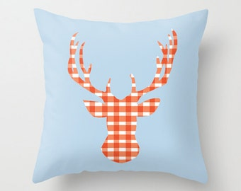 Throw Pillow Cover Deer Head - Baby Blue and Orange Gingham - 16x16, 18x18, 20x20 - Bedroom Nursery Original Design Home Décor by Adidit