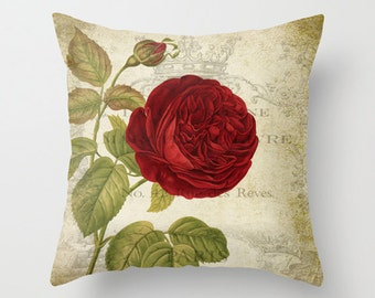 Throw Pillow Cover - Red Rose on Vintage Ephemera - 16x16, 18x18, 20x20 - Pillow case Original Design Home Décor by Adidit