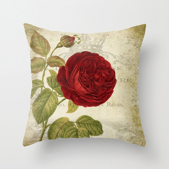 Red Rose Decorative Pillow : Throw Pillow Cover Red Rose on Vintage Ephemera 16x16