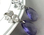 Bridesmaids, Purple Earrings, Swarovski Crystal Earrings, CZ Post Earwire, Crystal, Luxe, Sterling Silver, Bridal Wedding Jewelry