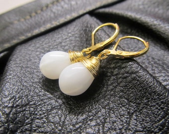 Snow White Winter Earrings, Wire Wrapped, White and Gold Earrings, Gold Earrings by SimplySleek