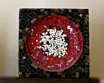 Stained Glass Mosaic Bowl Sculpture Red Black and Mirror Tessarae
