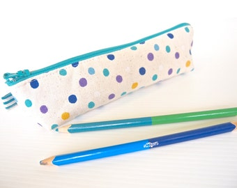 Mini Triangle Zippered Pencil Case / Pouch - Blue and Green Random Dots