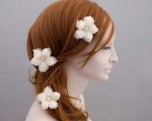 Pure Silk Wedding Hair Flower, Bridal Hair Flower, Wedding Hair Pins, Ivory Bridal Hairpin, Bridal Hair Accessory, Pearl, Freshwater Pearl