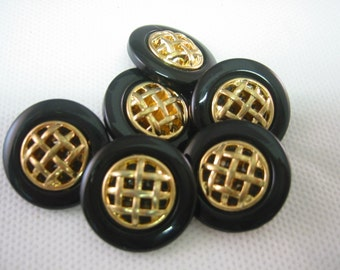 Black button gold weave center Lot of 4