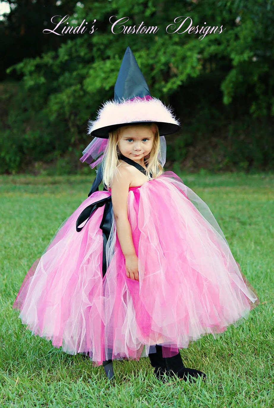 Diva Witch Pink and Black Tutu Costume for Toddlers Girls