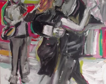 THE DANCE, original oil painting on paper, SIGNED