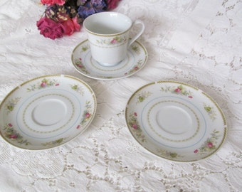 Cornucopia Bone China Japan Cup and Saucers Floral Pattern