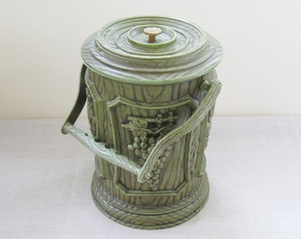 1960s Ice Bucket Faux Woodgrain Wooden Grained Avocado Green