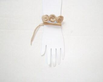 Beige flower leather bracelet -Barefoot Sandles, Ivory  Leather Rose  necklace,  Flowers  Anklet -  barefoot wedding sandles sexy  sandals