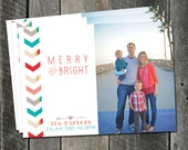 Christmas card design- Photo holiday cards printable, optional back side, red green pink gold arrows