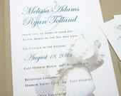 Beach Wedding Invitation Pocketfold Starfish Sea Shells Custom Beachcomber  Wedding Natural Recycled Pocket Teal Blue Beige Script Text