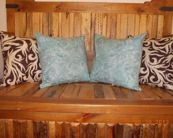 CLEARANCE.  Fall Autumn Wildwood Botanical Serene Decorative Pillow Covers in rich brown and soft teal.