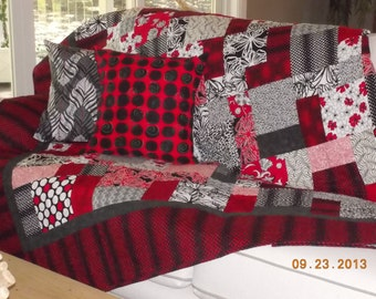 CLASSIC Red White Black Reversible Lap quilt. Polka dots. School color. dorm. sorority. Teen. Anniversay.  Wedding. Upcycle bedding.