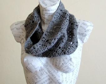 SALE Handmade Crochet Gray Cowl womens scarves infinity scarfs infinity scarf etsy grey infinity scarf crochet snood ladies scarves winter