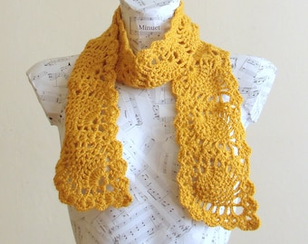 SALE Crochet yellow pineapple scarf crochet scarf handmade scarves wool scarf winter scarf winter scarves gifts for her fashion scarves