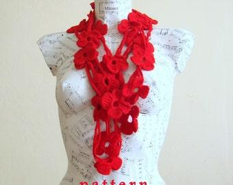 Crochet Flower Scarf Pattern crochet lariat scarf pattern crochet scarf crochet necklace gift for her accessories summer scarf scarf pattern