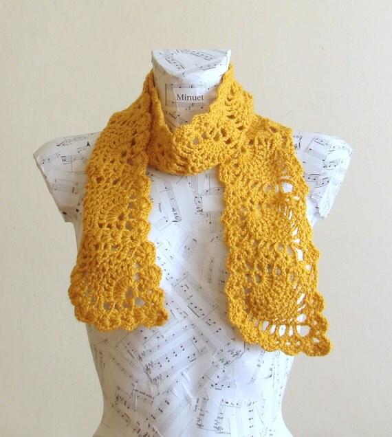 sale crochet yellow pineapple scarf crochet scarf handmade