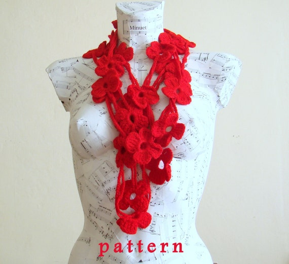 Crochet Flower Lariat Scarf Pattern - Instant Download PDF