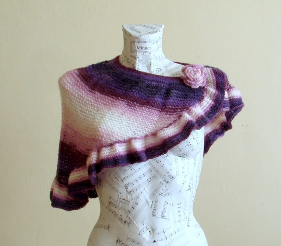 Woman winter accessory. Hand knitted ruffle capelet with crochet rose, purple pink multi-color
