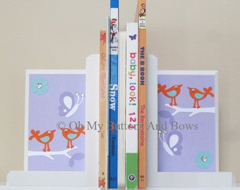 Nursery Bookends. HAND BEVELED EDGE Childrens Bookends. Nursery Room Decor . Name Blocks . Birds . Butterflies