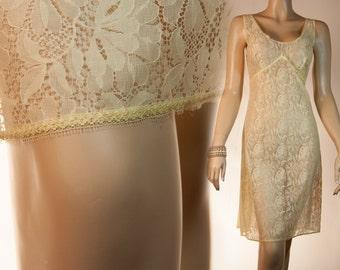 Beautiful stylish sheer silky soft deep lemon nylon and see through floral lace panel 1970's vintage full slip petticoat unterkleid - 2465
