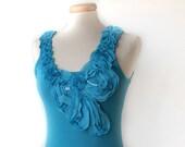 Turquoise Top , Sleeveless light blue shirt , women shirt , romantic shirt , party top