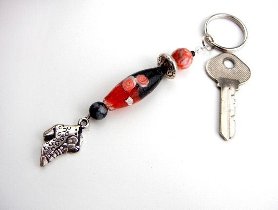 Red & black key chain of lampwork glass with silver shoe boot charm for bag, purse, backpack, ornament // key ring