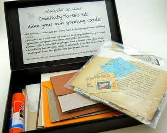 Make Your Own Eco Friendly Greeting Cards kit, box includes supplies for more than 6 cards, all salvaged materials