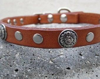 Flower Design Studded Leather Dog Collar