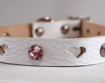 Leather Dog Collar - Hearts and Bling - Available in White, Red, Green, Brown, Tan or Black - Small or XXL Neck Sizes - Wedding Dog Collar