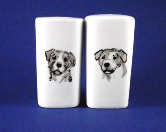 Jack Russell hand painted porcelain salt and pepper shakers