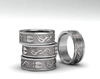 Antler and deer track ring